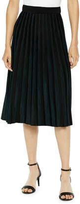 Misook Crystal Pleated A-Line Midi Skirt