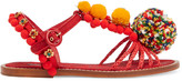 Dolce & Gabbana Embellished leather, raffia and brocade sandals