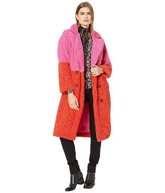Blank NYC Faux Sherpa Patchwork Long Coat in Arrival
