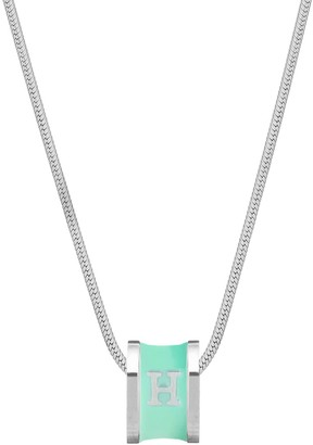 Florence London Initial H Silver Necklace With Turquoise Enamel