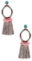 Deepa Gurnani Crystal Hoop Tassel Statement Earrings