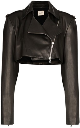KHAITE Eduarda cropped leather jacket