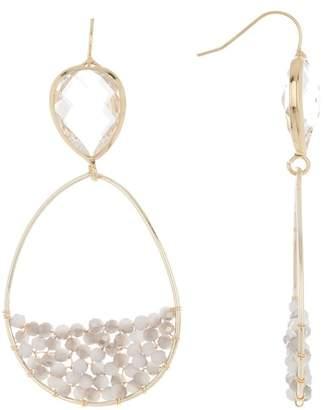 Panacea White Grey Clear Crystal Teardrop Earrings