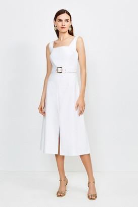 Karen Millen Square Neck Belted Tie Back Midi Dress