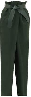 Salvatore Ferragamo Belted Wide-leg Satin-twill Trousers - Womens - Green
