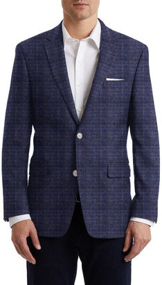 Hart Schaffner Marx Medium Blue Windowpane Two Button Notch Lapel New York Fit Sports Coat