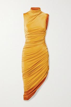 Monse Ruched Stretch-jersey Turtleneck Dress - Mustard