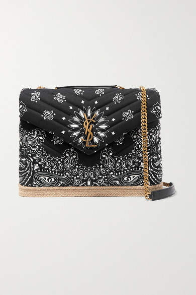 Black Quilted Medium Cotton Trimmed Shoulder Loulou And Leather Jute Bag Printed f67gYbyv