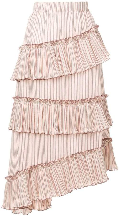 Lorena Antoniazzi striped asymmetric frill trim midi skirt