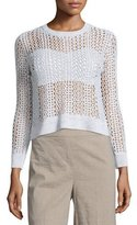Theory Krezia B Iras Crocheted Knit Cropped Sweater