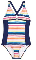 Splendid Girl's Watercolor Horizon One-Piece Swimsuit