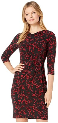 Lauren Ralph Lauren Printed Matte Jersey Trava 3/4 Sleeve Day Dress (Black/Scarlet Red) Women's Clothing