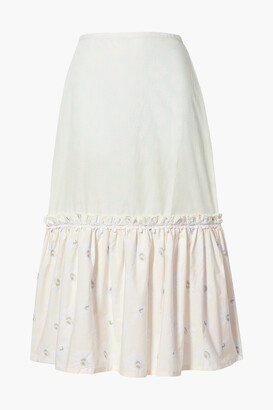 Solid & Striped Peasant Tiered Floral-print Cotton-poplin Skirt