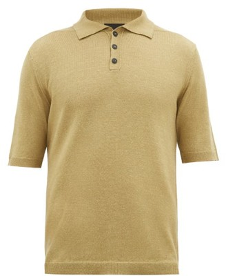 Iris von Arnim Josh Knitted Wool And Linen Polo Shirt - Mens - Beige
