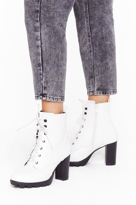 Nasty Gal Womens Heels Like the Right Time Faux Leather Lace-Up Boots - white - 3