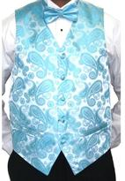 Ferrecci Men's Turquoise Paisley Printed Four-Piece Vest Set