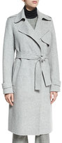 Theory Oaklane DF New Divided Open-Front Trench Coat, Melange Gray