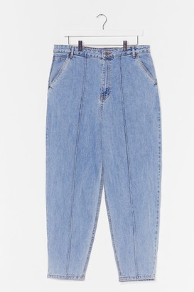 Nasty Gal Womens Put a Crop to It Plus High-Waisted Jeans - Stone