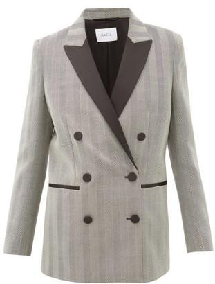 Racil Aquila Satin-lapel Herringbone-wool Blazer - Womens - Grey