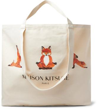 MAISON KITSUNÉ Xxl Logo-Print Cotton-Canvas Tote Bag