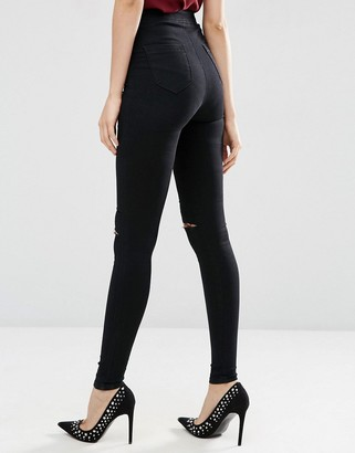 ASOS Tall ASOS TALL Rivington Denim High Waist Jeggings In Black with Two Ripped Knees