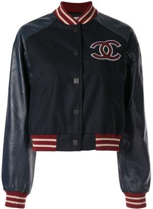 Chanel Pre Owned leather panelled logo bomber