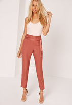 Missguided Satin Tie Waist Cigarette Trousers Pink