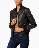 French Connection Faux-Leather Quilted Bomber Jacket