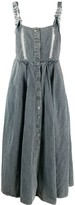 Button Front Linen Blend Pinafore Dress