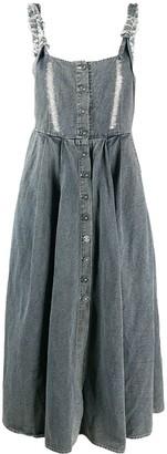 Miaoran Button Front Linen Blend Pinafore Dress