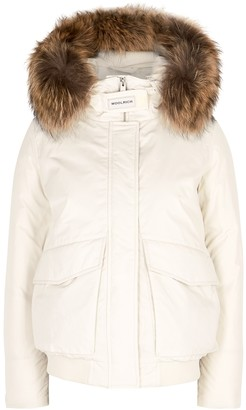 Woolrich Luxe Off-white Fur-trimmed Twill Bomber Jacket