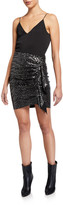 IRO Saria Draped Metallic Short Skirt