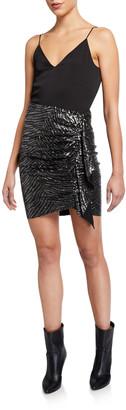IRO Saria Draped Metallic Short Skirt