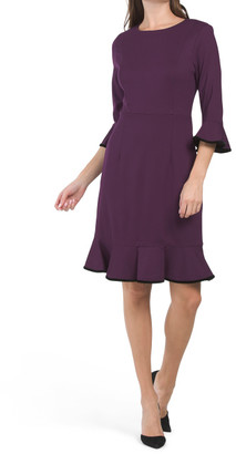 Bell Sleeve Ponte Tipped Dress