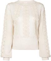 Chloé lace insert semi-sheer blouse - women - Cotton/Wool - L