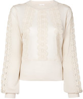Chloé lace insert semi-sheer blouse