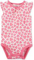 Carter's Heart-Print Cotton Bodysuit, Baby Girls