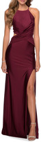 La Femme High-Neck Strappy-Back Ruched-Bodice Gown
