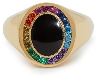 Jessica Biales - Rainbow Candy 18kt Gold & Sapphire Signet Ring - Womens - Gold