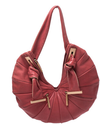 Fendi Red Pleated Leather Front Zipped Hobo