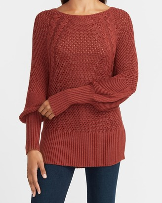 Express Cable Knit Balloon Sleeve Banded Bottom Sweater