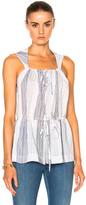 Stella McCartney Printed Sleeveless Top in White,Stripes.