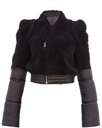 Rick Owens Shearling Panelled Padded Shell Jacket - Womens - Black