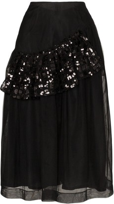 Simone Rocha Sequin-Ruffle Tulle Midi-Skirt