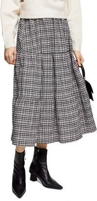 Topshop Tiered Plaid Midi Skirt