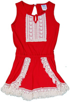 Peaches 'N Cream Red Fringe Romper
