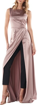 Kay Unger Constance Charmeuse & Crepe Maxi Romper