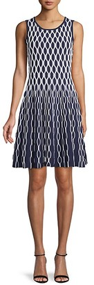 Saks Fifth Avenue Printed Cotton-Blend Fit--Flare Dress