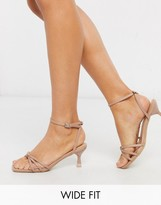 New Look Wide Fit knotted strap slim heeled sandals in beige