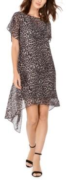 Adrianna Papell Leopard-Print Chiffon Flyaway Dress